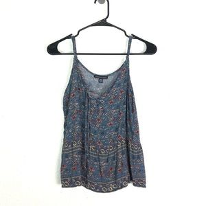 American Eagle XS Boho Floral Top Lace Up Flowy